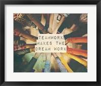 Framed Teamwork Makes The Dream Work Stacking Hands Color