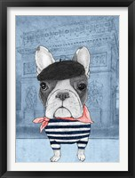 Framed French Bulldog with Arc de Triomphe
