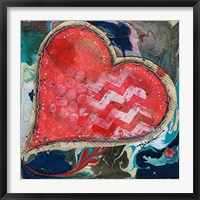 Framed Stitched Red Heart II
