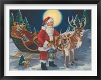Framed Santa with lantern