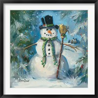 Framed Sweeping Snowman
