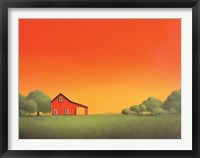 Framed Barn at Sunset