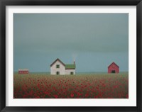 Framed Farmstead in a Field of Poppies
