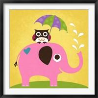 Framed Elephant and Owl with Umbrella