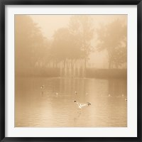 Framed Golden Lake in Fog