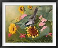 Framed Chickadee & Sunflowers