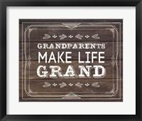 Framed Grandparents Make Life Grand - Wood Background