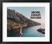 Framed Decide Commit Succeed - Sailboat Color