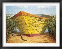 Framed Yellow and Orange Rowboat
