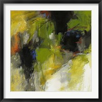 Framed Untitled Abstract with Green & Black