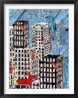 Framed Blue, Black and White Cityscape