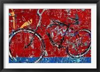 Framed Red Graffiti Bike