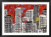 Framed Red, Black and White Cityscape