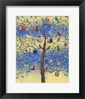 Framed Bird and Bird Houses on Tree