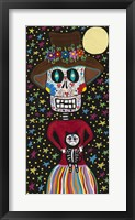 Framed Day of the Dead Girl with Cat