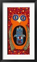 Framed Owl With Evil Eye Hamsa