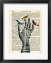 Framed Bird in the Hand