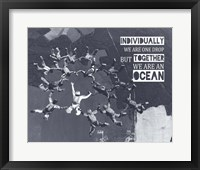 Framed Together We Are An Ocean - Skydiving Team Grayscale