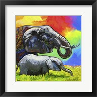 Framed Elephant Pop Mom Cub