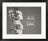 Framed Use Your Mind For Truth - Flowers on Branch Grayscale