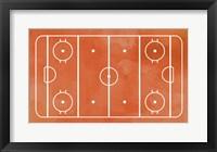 Framed Ice Hockey Rink Orange Paint