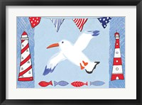 Framed Coastal Bird III Blue