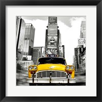 Framed Vintage Taxi in Times Square, NYC (detail)