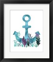 Framed Teal Florals Blue Anchor