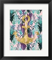 Framed Teal Florals Gold Anchor