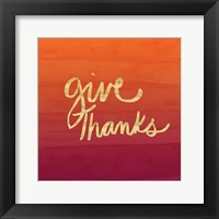 Framed Give Thanks - Gold, Red