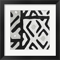 Framed Kuba Cloth I Square I BW