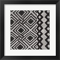 Framed Kuba Cloth Mat III BW