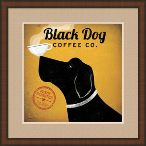 Black Dog Coffee Co. by Ryan Fowler with a brown frame and double mat