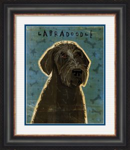 Black Labradoodle by John W. Golden with a custom black frame and double mat