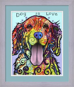 Dog Is Love by Dean Russo with custom mat and frame
