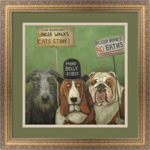 Dogs On Strike by Leah Saulnier, framed in Slim Gold and Gray with Ornate Floral Detail