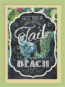 Get Your Tail to the Beach by Cindy Fornataro - Mixed Medium with Chalk Art