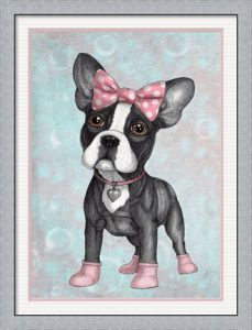 Sweet Frenchie by Barruf with a silver frame and a double mat