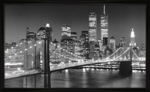 B&W Twin Towers and Brooklyn Bridge photography by Henri Silberman