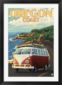 Retro Oregon Coast poster by Lantern Press