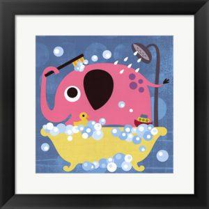 Elephant in Bathtub - artwork by Nancy Lee