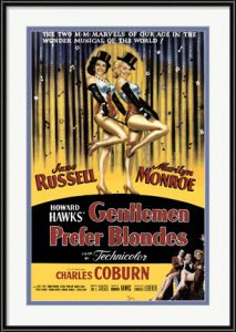 Gentlemen Prefer Blondes movie poster with Marilyn Monroe and Jane Russell