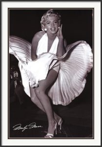 The Seven Year Itch, photographed by Matthew Zimmerman, is one of our most popular Marilyn Monroe prints.