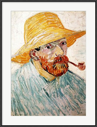 Vincent Van Gogh self portrait with hat and pipe