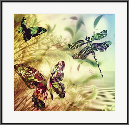 "A pair of butterflies and a dragonfly cavort in ""Down by Misty Creek"" by Mindy Sommers"