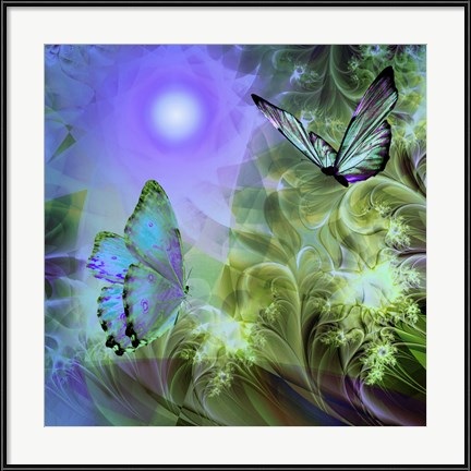 "Mindy Sommers' ""Languid Journeys Blue"" butterfly artwork is cool and dreamy."
