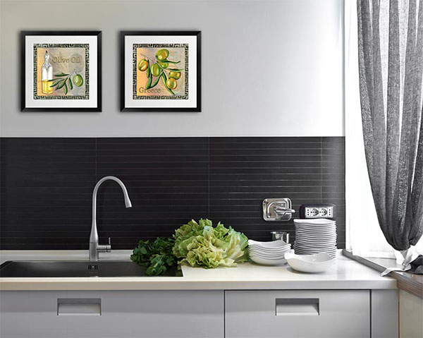 Contemporary wall art brings modern style to the kitchen.