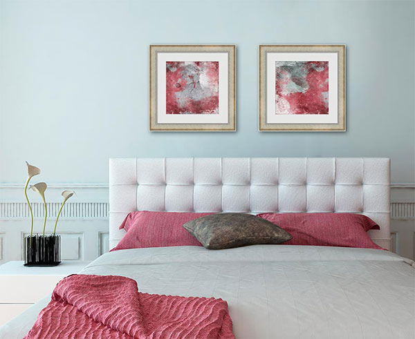 Add a bold splash of color to the bedroom with abstract wall art.