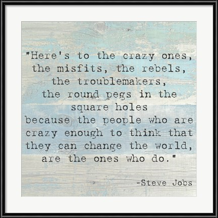 Decorative Wall Art - Here's to the Crazy Ones, Steve Jobs Quote