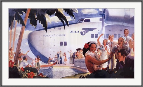 Honolulu Clipper - vintage airline poster advertisement
